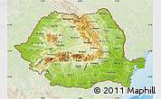 Physical Map of Romania, lighten, land only