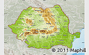 Physical Map of Romania, lighten, semi-desaturated, land only