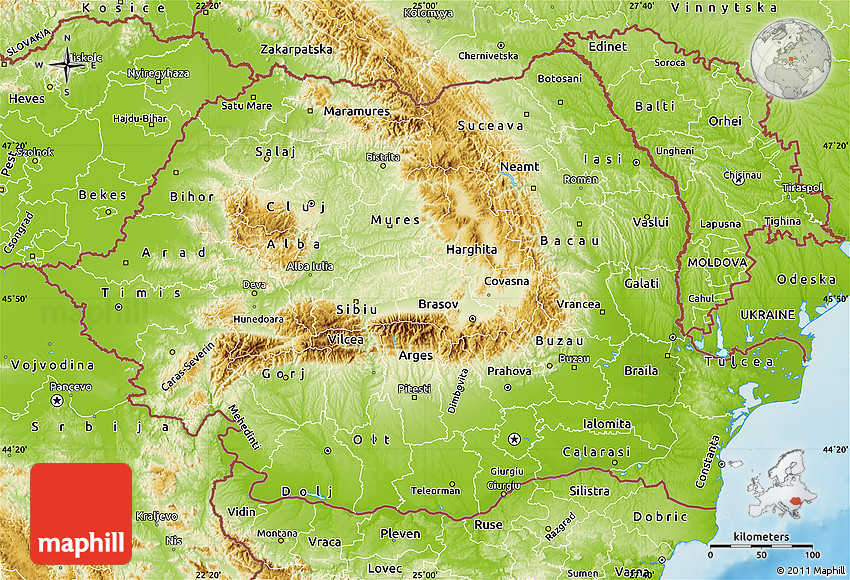 Physical Map of Romania