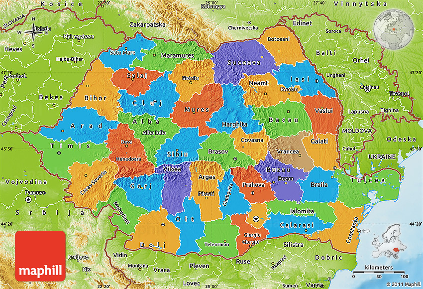Political Map of Romania physical outside