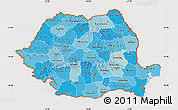 Political Shades Map of Romania, cropped outside