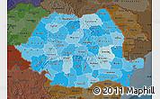 Political Shades Map of Romania, darken