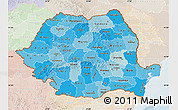 Political Shades Map of Romania, lighten