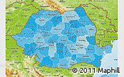 Political Shades Map of Romania, physical outside