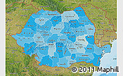 Political Shades Map of Romania, satellite outside, bathymetry sea
