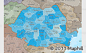Political Shades Map of Romania, semi-desaturated, land only