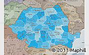 Political Shades Map of Romania, semi-desaturated