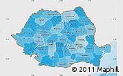 Political Shades Map of Romania, single color outside
