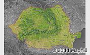 Satellite Map of Romania, desaturated