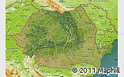 Satellite Map of Romania, physical outside, satellite sea
