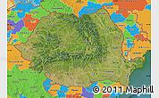 Satellite Map of Romania, political outside, satellite sea