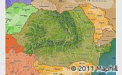 Satellite Map of Romania, political shades outside, satellite sea