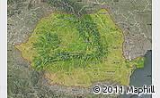 Satellite Map of Romania, semi-desaturated