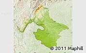 Physical Map of Mehedinti, lighten