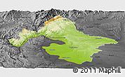 Physical Panoramic Map of Mehedinti, darken, desaturated