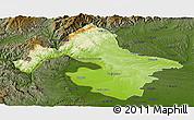 Physical Panoramic Map of Mehedinti, darken