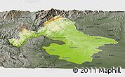 Physical Panoramic Map of Mehedinti, darken, semi-desaturated