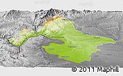 Physical Panoramic Map of Mehedinti, desaturated