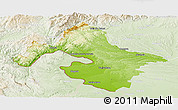 Physical Panoramic Map of Mehedinti, lighten