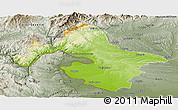 Physical Panoramic Map of Mehedinti, semi-desaturated