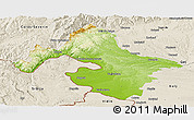 Physical Panoramic Map of Mehedinti, shaded relief outside