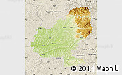 Physical Map of Mures, shaded relief outside