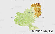 Physical Map of Mures, single color outside