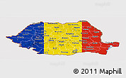 Flag Panoramic Map of Romania