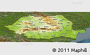 Physical Panoramic Map of Romania, darken