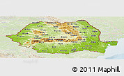 Physical Panoramic Map of Romania, lighten