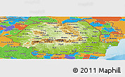 Physical Panoramic Map of Romania, political outside, shaded relief sea