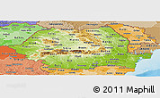Physical Panoramic Map of Romania, political shades outside, shaded relief sea