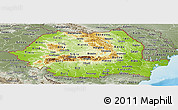 Physical Panoramic Map of Romania, semi-desaturated, land only