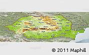 Physical Panoramic Map of Romania, semi-desaturated