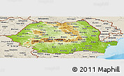 Physical Panoramic Map of Romania, shaded relief outside