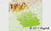 Physical Map of Prahova, lighten