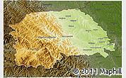 Physical 3D Map of Suceava, darken
