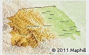 Physical 3D Map of Suceava, lighten