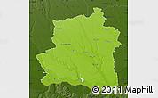 Physical Map of Teleorman, darken