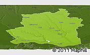 Physical Panoramic Map of Teleorman, darken