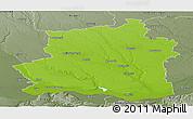 Physical Panoramic Map of Teleorman, semi-desaturated