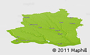 Physical Panoramic Map of Teleorman, single color outside