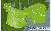 Physical Map of Tulcea, darken