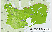 Physical Map of Tulcea, lighten