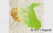 Physical Map of Vrancea, shaded relief outside