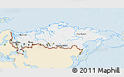 Classic Style 3D Map of Russia, single color outside