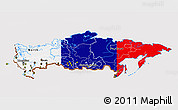 Flag 3D Map of Russia, flag aligned to the middle