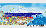Flag 3D Map of Russia, physical outside