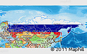 Flag 3D Map of Russia, political shades outside