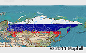 Flag 3D Map of Russia, satellite outside